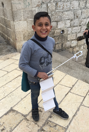 Working Hard Selling Postcards on the Mount of Olives