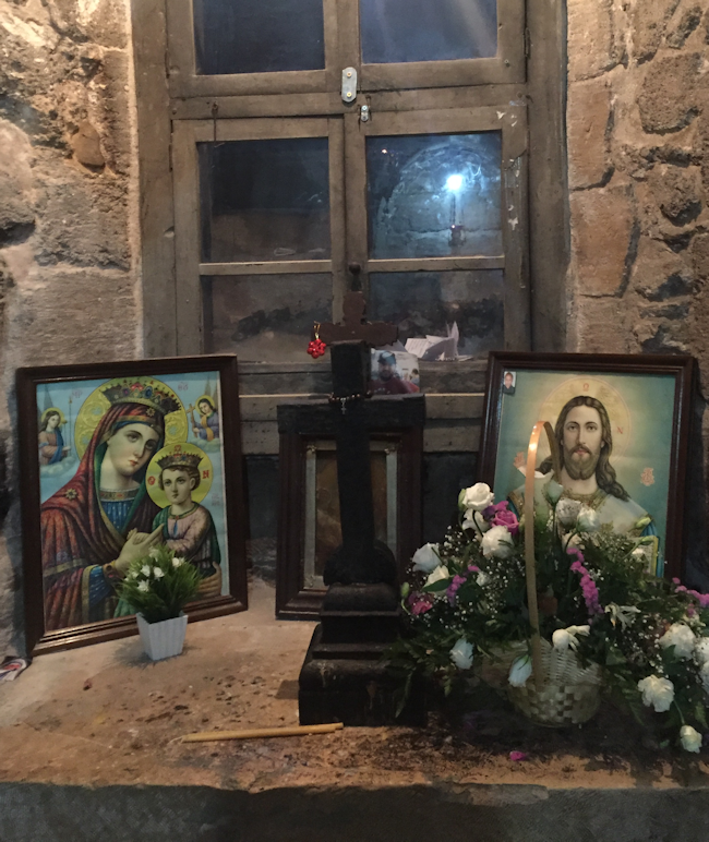 A Nook Inside A Greek Orthodox Church With Mary's Well In Nazareth