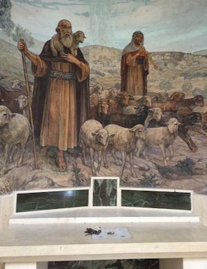 Rosaries Placed on Side Altar of Chapel of the Shepherd's Field in Biet Sahur