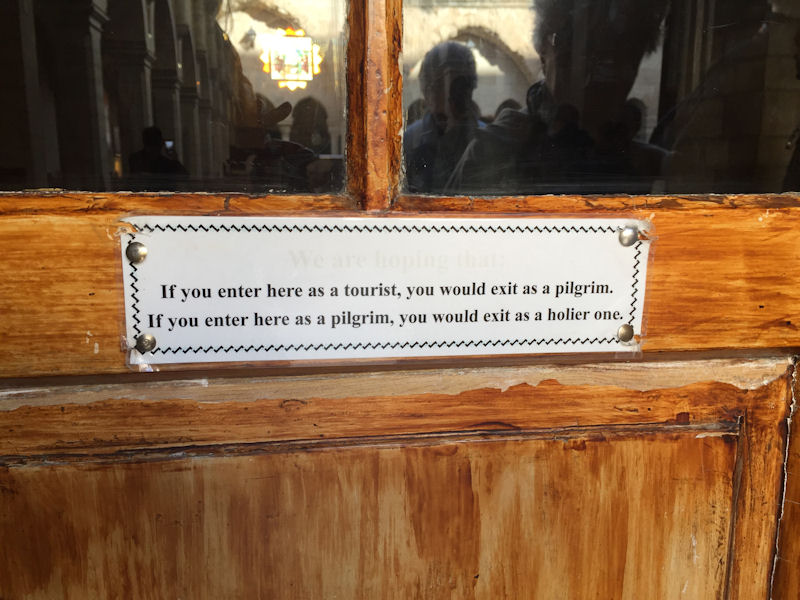 Sign on the Door of the Church of St. Catherine of Alexandria in Bethlehem
